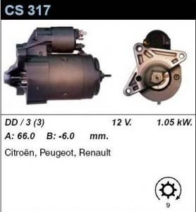 Купить стартер CS317 для Renault, Peugeot, Citroen