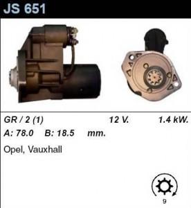 Купить стартер JS651 для Opel Combo, Corsa