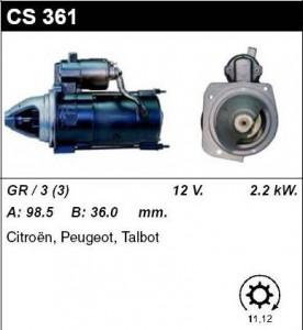 Купить стартер CS361 для Citroen, Peugeot