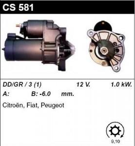 Купить стартер CS581 для Peugeot, Citroen