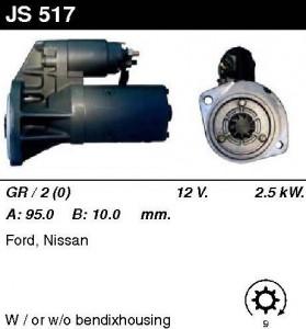 Купить стартер JS517 для Ford, Nissan